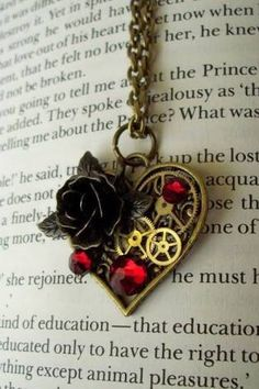 Steampunk Heart Necklace - Victorian Brass Heart Pendant on Chain - Gears and Brass Rose - Swarovski Crystals on Etsy, awww it's beautiful Collar Steampunk, Arte Steampunk, Steampunk Heart, Style Steampunk, Steampunk Design, Victorian Steampunk, Steampunk Necklace, Steampunk Fashion, Gothic Fashion