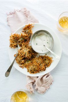 A Latke Party! Herb Potato Cakes/Fritters with Vegan Yogurt Garlic Sauce | dolly and oatmeal