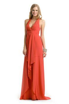 Nicole Miller Coral Halter Gown