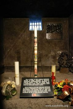 The starvation cell in the cellars of Block 11. The candle was given by the pope John Paul II, as this was the cell of father Maksymilian Kolbe.