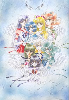 """For this picture, I drew a sketch with pencil, then copied it onto manuscript paper and used marker to add color. These costumes don't appear in the anime–it's an image of the 8 girls as angels"