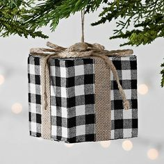 Kirkland's Buffalo Check Black and White Gift Ornament