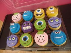 Monster's University themed cupcakes www.bakedinmoore.com Monsters Inc Cupcakes, Monster Cupcakes, Monster Inc Party, Monster Birthday Parties, Fondant Cupcakes, Cupcake Cakes, Monster University Cakes, Leo Birthday, Themed Cupcakes