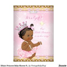 Ethnic Princess Baby Shower Pink Tutu Gold Tiara A 5x7 Paper Invitation Card