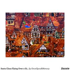 Santa Claus Flying Over a Gingerbread Village Postcard