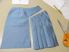piece with side pleats - piece with side pleats - Fashion Sewing, Diy Fashion, Fashion Dresses, Skirt Patterns Sewing, Clothing Patterns, Sewing Clothes, Diy Clothes, Women's Mini Skirts, Dresses Kids Girl