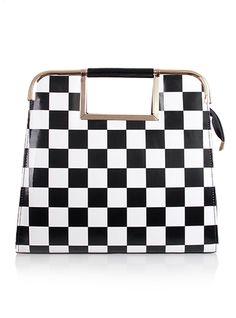 Black And White Grid Bag