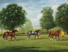 "Reeves, Richard Stone  Richard Stone Reeves (American, 1919-2005) THREE KINGS (NIJINSKY II, SPECTACULAR BID, & SECRETARIAT AT CLAIBORNE FARM) Oil on canvas, 28 1/4""x 36he remembered them"