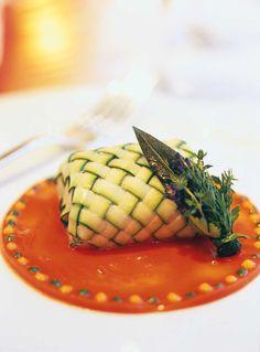 Slowpoached Turbot Langoustine With Zucchini Eggplant Tomato