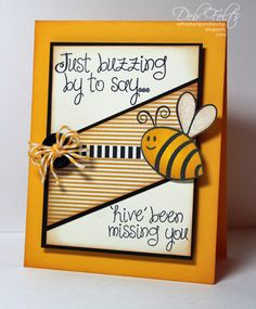 "With a Stamp and a Song: ""hive"" been missing you! Bee stamp is from The Stamps of Life Card Making Inspiration, Making Ideas, Slider Cards, Miss You Cards, Bee Cards, Scrapbook Cards, Scrapbooking, Scrapbook Journal, Card Sentiments"