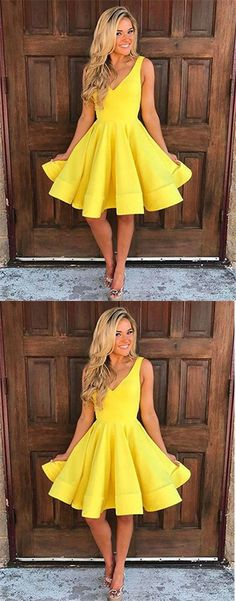 Homecoming Gown,Homecoming Dresses,Cute V Neck Yellow Homecoming Dresses,Knee-length Sleeveless Short Prom Dresses,Sweet 16 Dresses,Short Graduation Dress,Junior Homecoming Gown