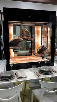 new shop display idea - dry aged beef in himalayan rock salt cabinet - Beautiful and tasty