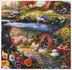 The whimsical world of Wonderland comes alive in the signature style of Thomas Kinkade. 24 x x © Thomas Kinkade © Disney Disney Kunst, Art Disney, Film Disney, Disney Images, Disney Love, Thomas Kinkade Disney, Alice In Wonderland Paintings, Wonderland Alice, Winter Wonderland