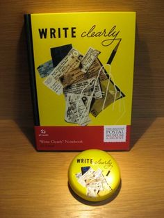 Write Clearly Notebook and Paperweight.  Very cool new line from The British Postal Museum & Archive.  Available at Best of Friends Gift Shop in the lobby of Winnipeg's Millennium Library. 204-947-0110  info@friendswpl.ca Gifts For Friends, Best Friends, Writing Notebook, Archive, British, Museum, Cool Stuff, Shop, Beat Friends