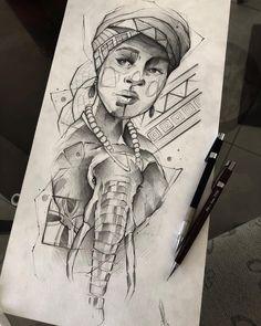 Arte criada pelo tatuador Robson Fig que trabalha em São Paulo.  Mulher africana com elefante em sketch.