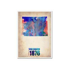 Trademark Fine Art Watercolor State & Date Canvas Wall Art, Multicolor