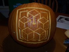 """It's time to toss the dice."" Wheel of Time pumpkin"