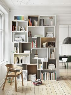 Scandinavian home library.: Scandinavian home library. posted by Whatisindustriald - Daily Home Decorations Etagere Cube, Gold Etagere, Unique Shelves, Creative Bookshelves, Shelving Systems, Shelf System, Shelving Ideas, Bookshelf Ideas, Modular Shelving