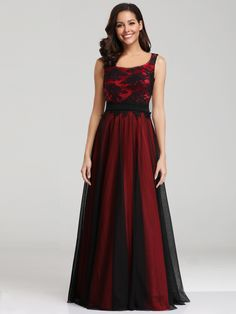 6367c41f3db4 Long Red Prom Dress with Black Overlay
