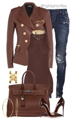 A fashion look from September 2015 featuring brown shirts, pencil skirts and christian louboutin shoes. Browse and shop related looks. Lila Outfits, Mode Outfits, Classy Outfits, Stylish Outfits, Fashion Outfits, Womens Fashion, Fashion Trends, Cute Fashion, Look Fashion