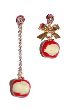 Betsey Johnson Mismatched Goldtone Enamel Apple Drop Stud Earrings (Gift Pouch Included) Cute Quirky Jewellery