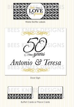 50th Wedding Anniversary Invitation And Printable Party Pack Banner Cupcake Toppers Thank You Cards Buffet