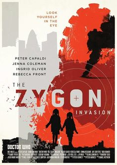 Poster by Stuart Manning for Doctor Who Season 9 Episode 7 The Zygon Invasion for the two parter The Zygon Invasion/The Zygon Inversion