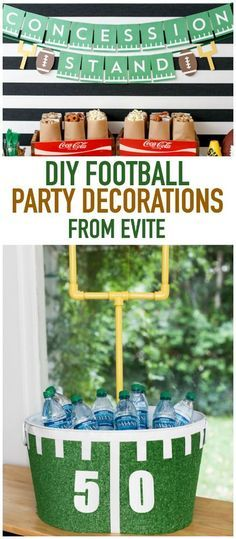 Tons of great game day party decor ideas including football themed invitations, a DIY beverage tub, and a concession stand banner from Evite.