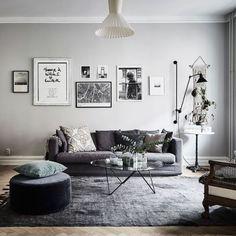 Living Room Sofa, Living Room Decor, Living Rooms, Dark Gray Sofa, Grey Interior Design, Minimalist Decor, Interior Architecture, Interior Decorating, Furniture