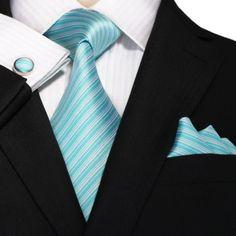 New- Tiffany Blue and White Stripe Wedding Tie Set   JPM18A64