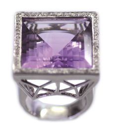 RING 750 Weissgold Amethyst 140ct