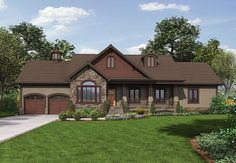 House Plan 74852 | Cottage Country Traditional Plan with 1933 Sq. Ft., 4 Bedrooms, 2 Bathrooms, 2 Car Garage