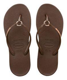 4988c6a16b805 Dark Brown Ring Flip-Flop - Women Rubber Flip Flops