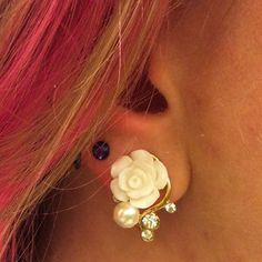 1 PAIR Ivory Gold Filigree Rose Dangle Plugs Gauges Tunnels with Clear Rhinestone accent Wedding Bridal Bridesmaid Piercing Tattoo, Ear Piercings, Wedding Plugs, Wedding Body, Wedding Hair, Tunnels And Plugs, Gauges Plugs, Thing 1, Layered Bracelets