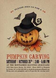 Printable Halloween Invitation Printable Pumpkin by plpapers