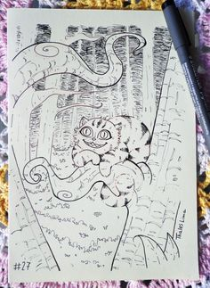 Ilustração do Gato risonho de Alice no Pais das Maravilhas :3
