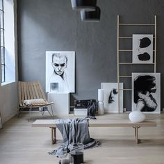 Artprints by Anna Bülow.  The beautiful industrial warehouse with large windows created the perfect backdrop for Anna's monochrome art. Instagram: @annabylove #photoshoot #artwall #inspiration Photo: Nina Hurum Styling: Anna Bülow Limited edition art prints: Face 1, Face 2, Face 3 & Noise