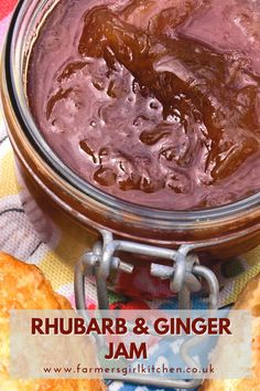 Rhubarb and Ginger Jam is one of the first jams I ever made. It's absolutely delicious and the perfect way to preserve a glut of rhubarb in the spring and early summer. Rhubarb and Ginger Jam is really easy to make and the preserved ginger adds a fabulous kick. #rhubarb #ginger #jam #jelly #recipe #preserves Rhubarb Recipes, Jam Recipes, Rhubarb Ginger Jam, Chilli Jam, Food Staples, Kitchen Recipes, Recipe Using, Preserves, Fork