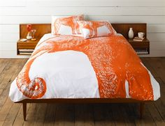 KING ELEPHANT DUVET COVER - Alcazar by Thomas Paul.  100% cotton bedding is hand silk screened.