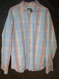 Mens L Large Eddie Bauer Dress Shirt Button Up Red Blue Striped Plaid Casual