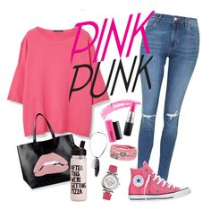 pink punk by missellyot on Polyvore featuring polyvore, fashion, style, Violeta by Mango, Topshop, Converse, RED Valentino, Platadepalo, Salvatore Ferragamo, Rebecca Minkoff, MAC Cosmetics and clothing