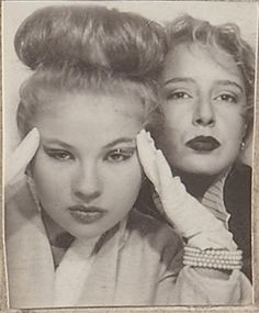 "** Vintage Photo Booth Picture ** ""This bun is giving me such a headache."""