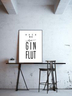 """Schlichtes Poster mit dem Spruch """"Nach mir die Gin Flut"""", lustiges Geschenk für Gin-Liebhaber/ funny poster for gin lovers made by goodGirrrl via DaWanda.com"""