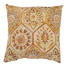 'Summer Breeze' Gold Square Throw Pillow