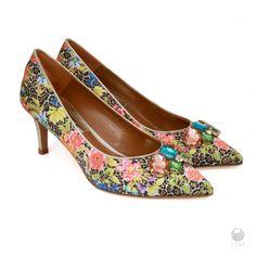Global Wealth Trade Corporation - FERI Designer Lines Floral Heels, Selling On Pinterest, Shoe Boots, Women's Shoes, Cow Leather, Designer Shoes, Kitten Heels, Fashion Accessories, Floral Prints