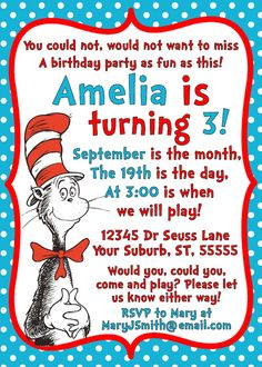 Dr Seuss Cat in the Hat Invitation Printable by littleforests