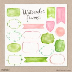 Watercolor Cliparts Frames and Ribbons Pink Green by OtoStudio, $8.00