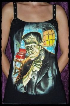 This awesome Frankenstein shirt features my signature Strap Tank top design! I started with a licensed Men´s T-shirt and hand cut it to a