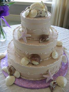 Sea shell design in chocolate buttercream