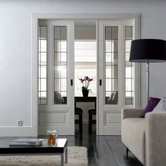 On My Mind: Design Details--pocket doors entrance into study or library